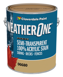 <p><span>WeatherOne<sup>&reg;</sup>&nbsp;100% Acrylic Semi-Transparent Stain</span></p>